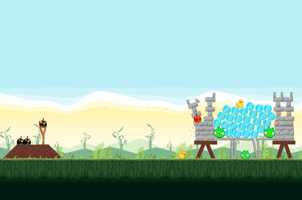 Screenshot Angry Birds im Web-Browser
