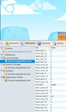 Screenshot Angry Birds im Web-Browser Web-Inspector